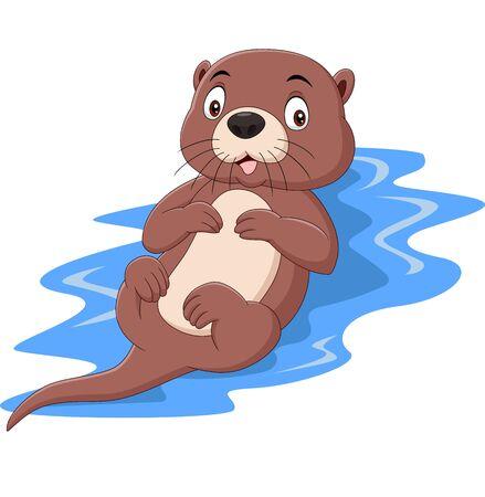 Vector illustration of Cartoon funny otter floating on water Ilustração