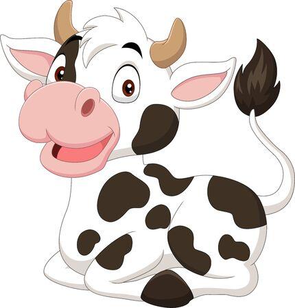 Illustrazione di vettore della mucca divertente del fumetto che si siede su white