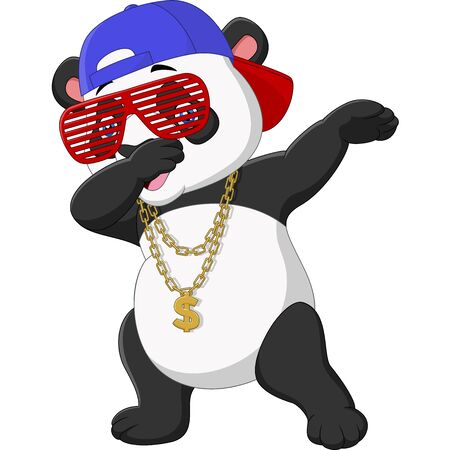 Vector illustration of Cool panda dabbing dance wearing sunglasses, hat, and gold necklace