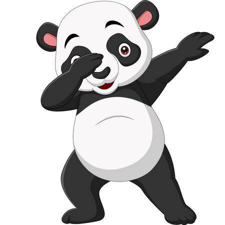 Vector illustration of Cute panda cartoon in dabbing pose