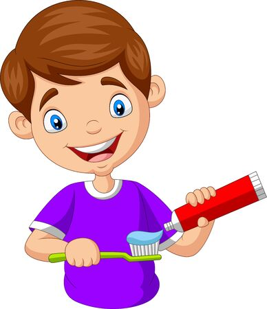 Vector illustration of Cute little boy squeezing toothpaste on a toothbrush
