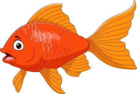 Vector illustration of Cartoon golden fish isolated on white