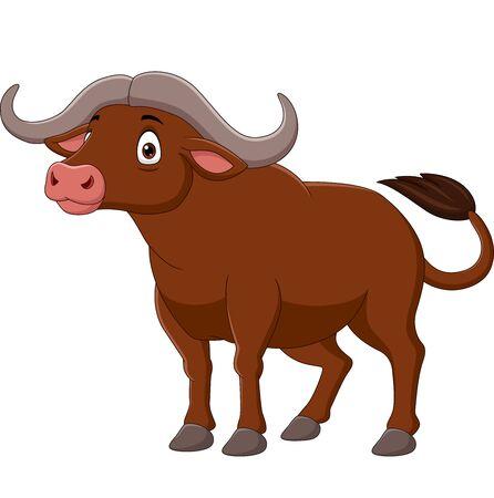 Vector illustration of Cartoon buffalo isolated on white