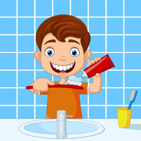 Vector illustration of Cute little boy brushing teeth in bathroom