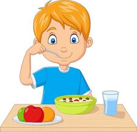 Vektorillustration des kleinen Jungen der Karikatur, der Frühstückszerealien mit Früchten isst