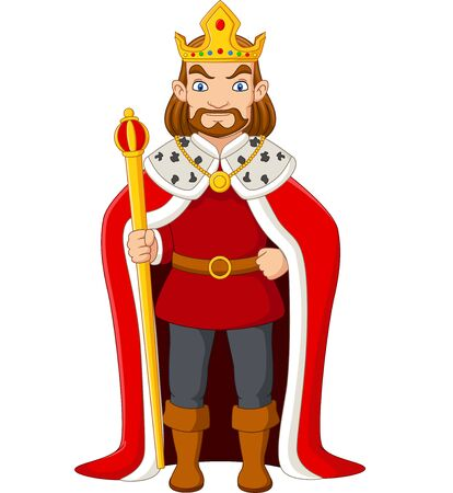 Vector illustration of Cartoon king holding a golden scepter Ilustração