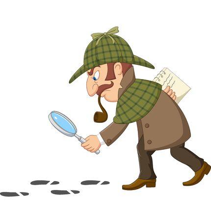 Vector illustration of Cartoon of a detective investigate following footprints Ilustracja