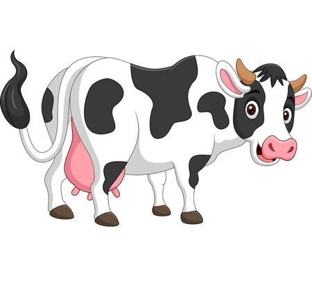Vector illustration of Cartoon happy cow posing isolated on white background Reklamní fotografie - 137956821