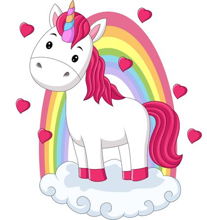 Vector illustration of Cartoon baby pony unicorn standing on clouds with rainbow