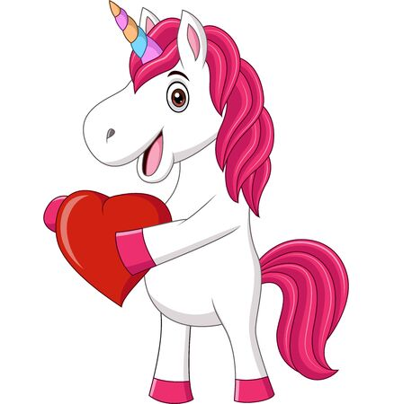 Vector illustration of Cute baby unicorn holding heart