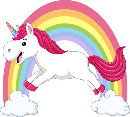 Vector illustration of Cute magical unicorn walking on the clouds and rainbow Illustration