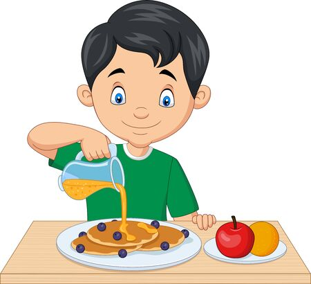 Vector illustration of Little boy flowing maple syrup on pancakes with blueberries