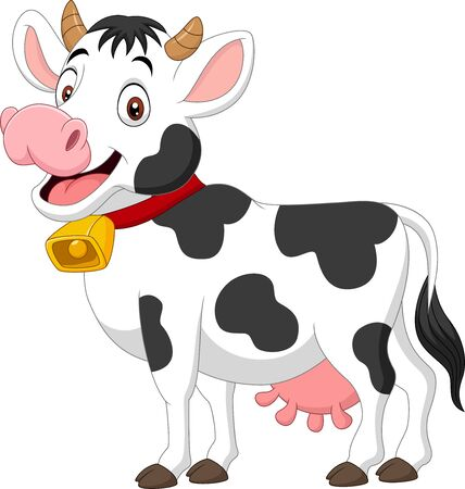 Vector illustration of Cartoon happy cow isolated on white background
