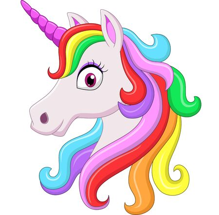 Vector illustration of Cute rainbow unicorn head mascot