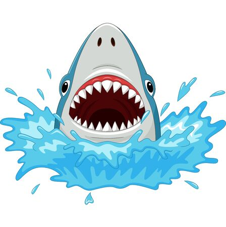 Vector illustration of Cartoon shark with open jaws isolated on a white Векторная Иллюстрация