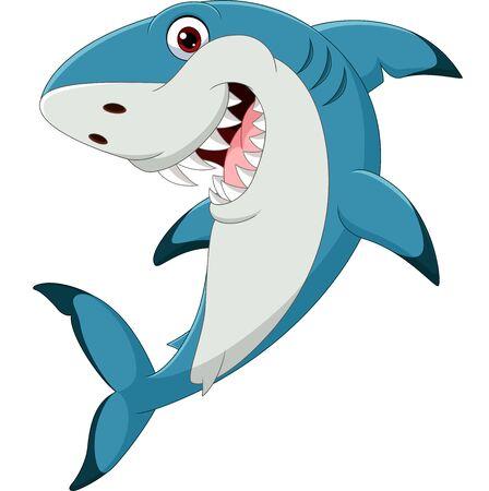 Vector illustration of Cartoon funny shark isolated on white