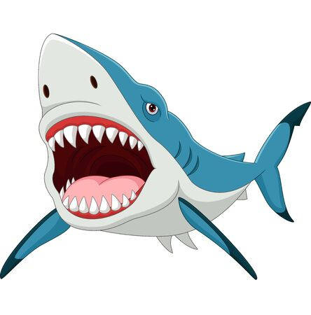 Wektorowa ilustracja kreskówka rekin z otwartymi ustami