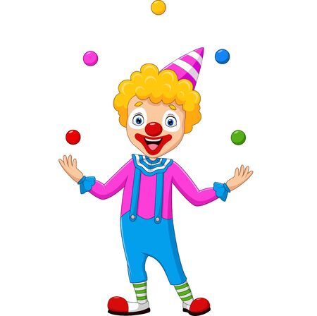 Vector illustration of Happy clown juggling with colorful balls