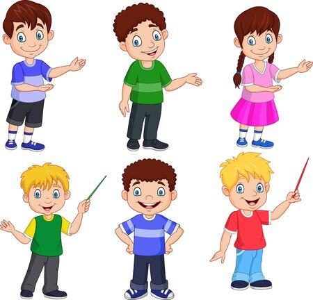 Illustration vectorielle des enfants de dessin animé avec une pose différente Vecteurs