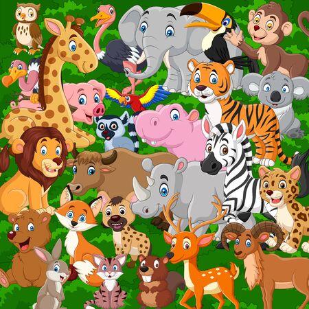 Vector Illustration of Cartoon wild animals collection set