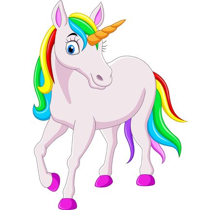 Vector Illustration of Cartoon rainbow unicorn horse isolated on white background