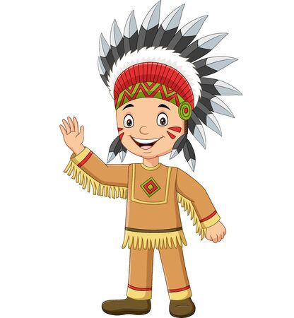 Vector illustration of Cartoon native boy indian american waving