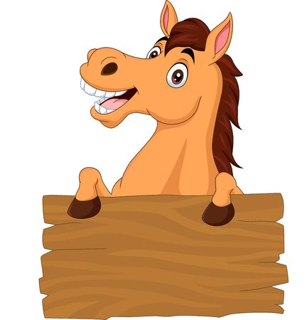 Vector illustration of Cartoon funny donkey with blank board sign