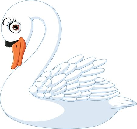 Vector illustration of Cartoon cute swan isolated on white background