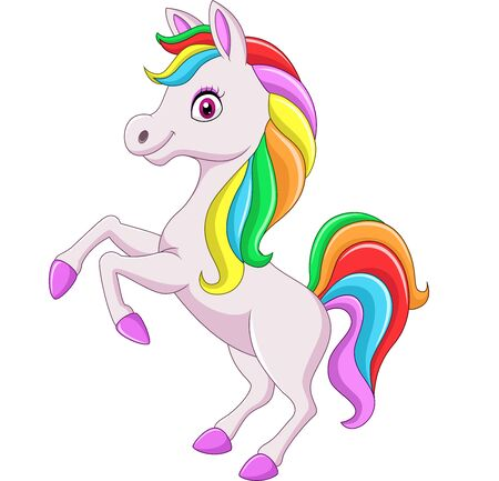 Vector illustration of Cartoon rainbow horse isolated on white background