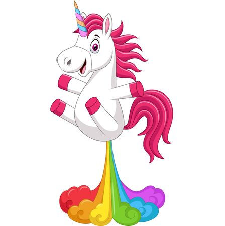 Vector illustration of Cartoon funny unicorn horse with rainbows fart