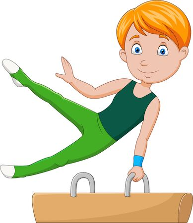 Vector illustration of Little boy gymnast doing a pommel horse Иллюстрация