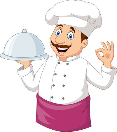 Vector illustration of Cartoon funny chef holding a silver platter and ok sign
