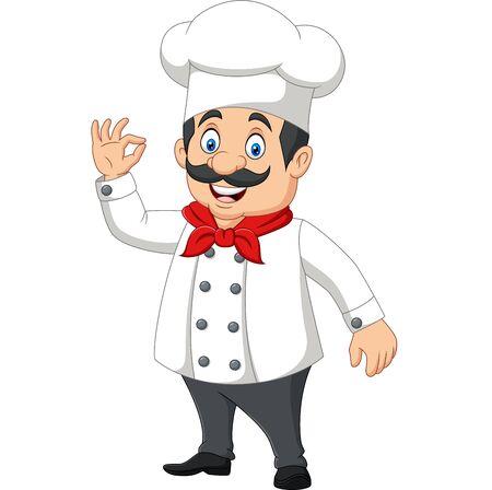 Vector illustration of Cartoon happy chef with ok sign Çizim