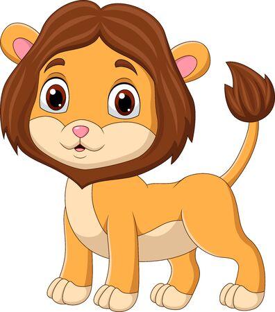Ilustración de vector de dibujos animados lindo bebé León aislado en blanco Ilustración de vector