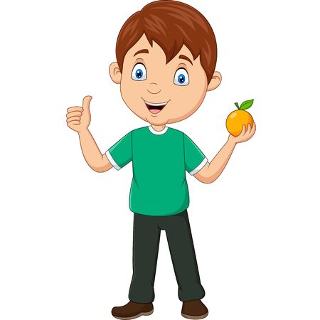 Vector illustration of Cartoon little boy holding an orange fruit and giving thumbs up