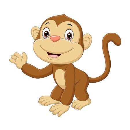Ilustracja wektorowa słodkie dziecko małpa macha ręką