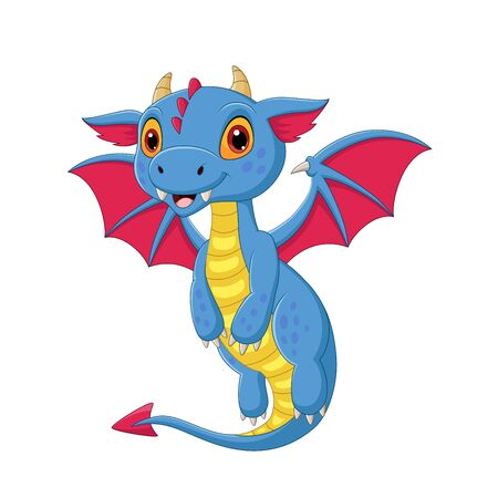 Vector illustration of Cartoon baby dragon flying on white background