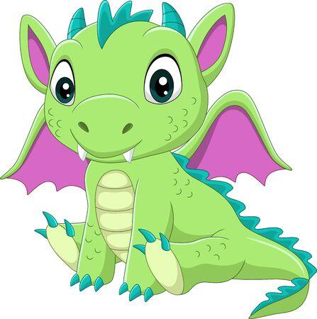Vector illustration of Cartoon baby green dragon sitting Vettoriali