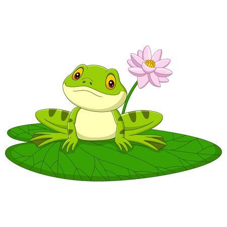 Vector illustration of Cartoon green frog sitting on a leaf Illustration