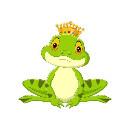 Vector illustration of Cartoon happy king frog on white background Ilustração