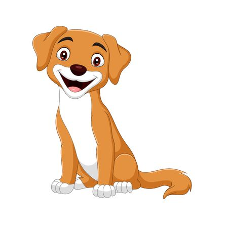 Vector illustration of Cartoon happy dog on white