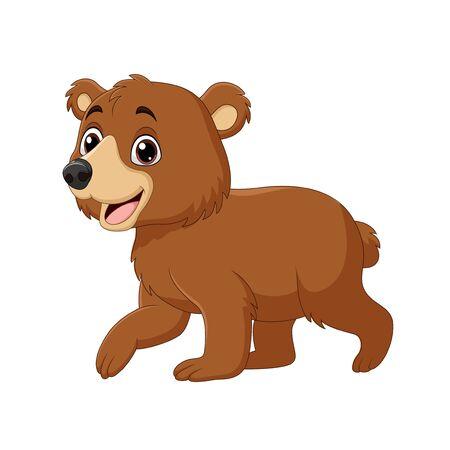 Vector illustration of Cartoon funny baby bear walking