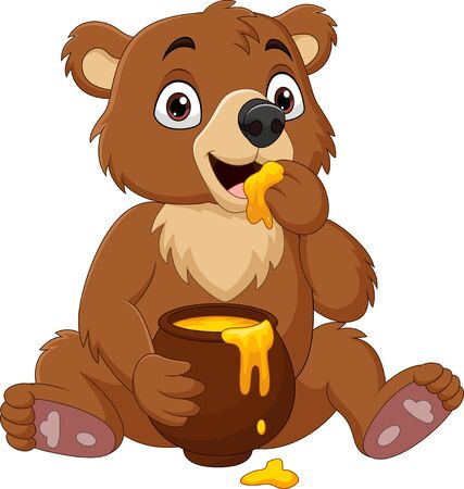 Vector illustration of Cartoon baby bear sitting and eating honey from the pot Ilustración de vector