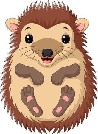 Vector illustration of Cartoon cute little hedgehog on white