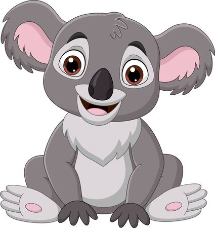 Vector illustration of Cartoon cute baby koala sitting