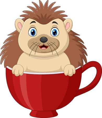 Vector illustration of Cartoon happy hedgehog sitting in a red cup