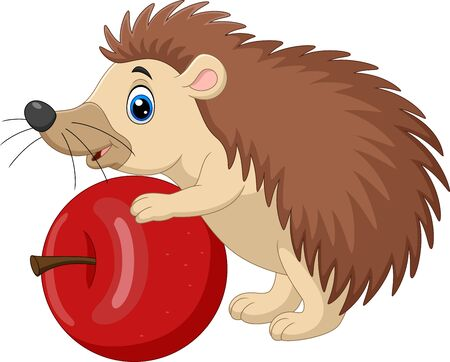 Vector illustration of Cartoon baby hedgehog holding red apple