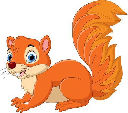 Vector illustration of Cartoon funny squirrel isolated on white background Vektorgrafik