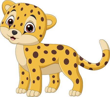 Vector illustration of Cartoon leopard isolated on white