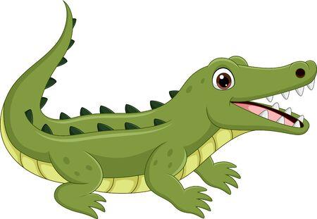 Vektor-Illustration von Cartoon-Krokodil isoliert auf weißem Hintergrund